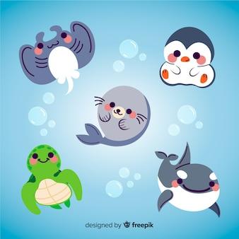 Vida aquática de animais fofos com blushes