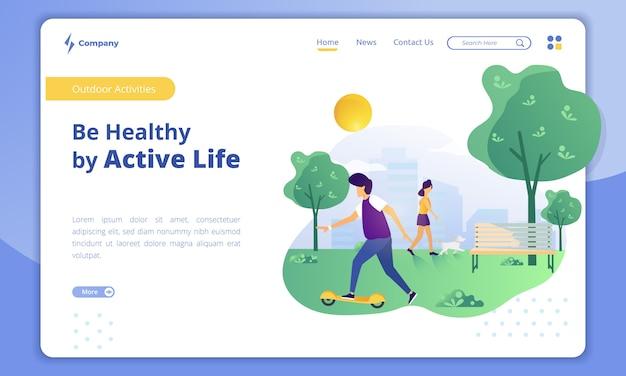 Vida ativa com o conceito de atividades ao ar livre na página de destino