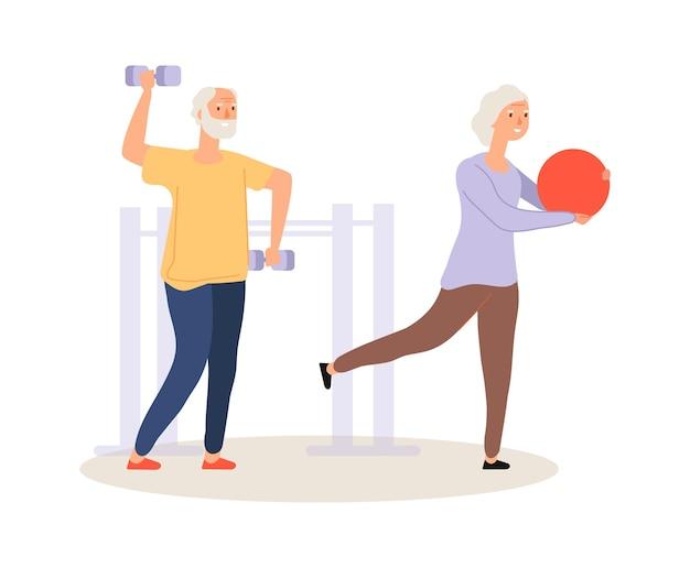 Vida ativa do idoso. treinamento de idosos