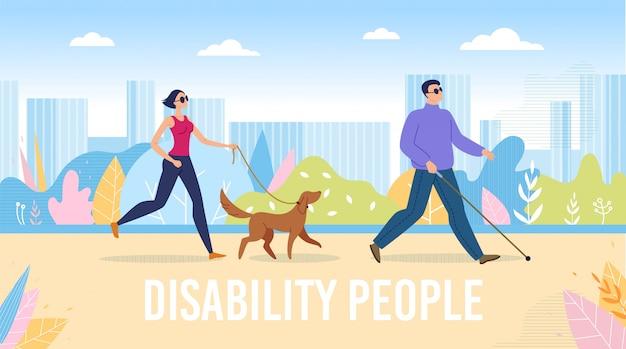 Vida completa de pessoas cegas na cidade plana