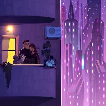 Vida confortável em vetor de desenhos animados de casa moderna de vários andares com jovem casal com gato