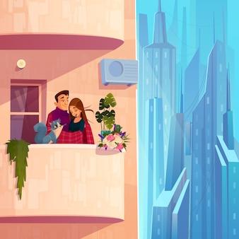 Vida confortável no vetor de desenhos animados de casa moderna de vários andares