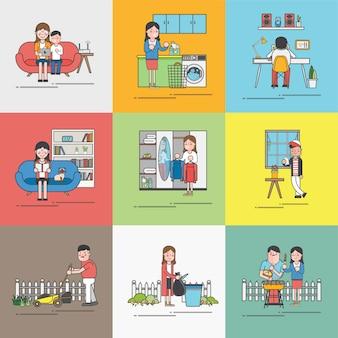 Vida cotidiana de uma família feliz