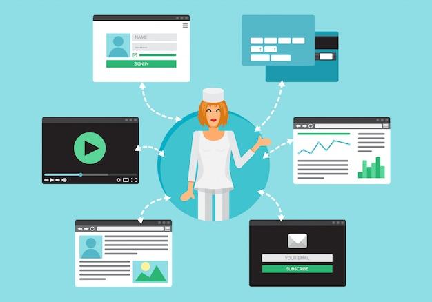 Vida da web do doutor do vídeo Vetor Premium