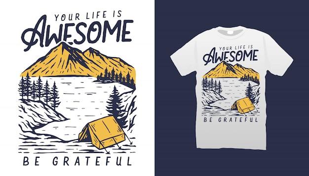 Vida de acampamento camiseta
