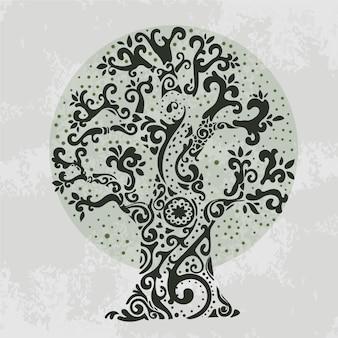 Vida de árvore de galhos extravagantes desenhados à mão
