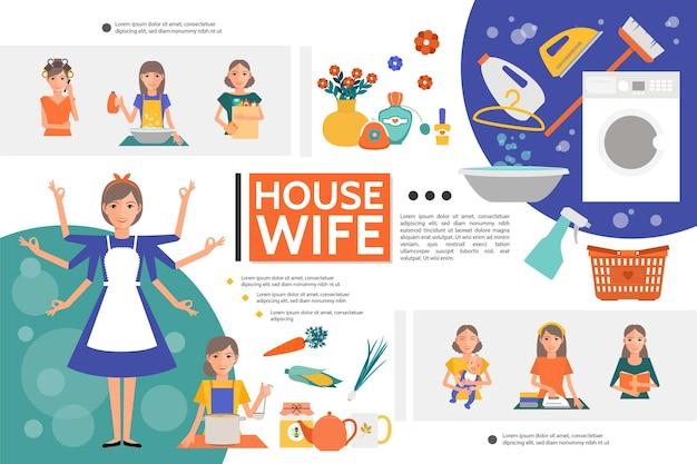 Vida de dona de casa plana com mulher fazendo tarefas domésticas diferentes, mãe com máquina de lavar roupa de bebê