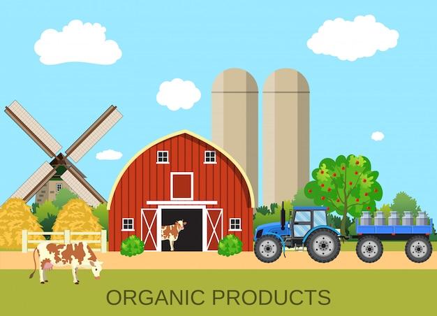 Vida de fazenda de leite colorido com economia natural
