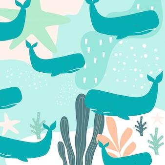 Vida de mar colorido sem costura de fundo com baleias