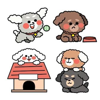 Vida diária da ilustração do pequeno poodle doodle