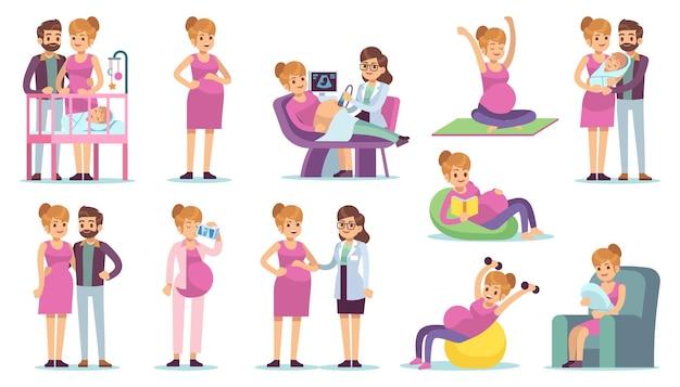 Vida diária da mulher grávida. mulher esperando o tempo de lazer da criança durante o conceito de gravidez, fazendo ioga e exercícios, exame médico na clínica, pais com personagens de desenhos animados recém-nascidos de vetor plana