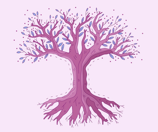 Vida em árvore desenhada à mão de conto de fadas