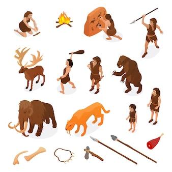 Vida isométrica de povos primitivos conjunto com armas de caça, começando com fogo pintura de rocha dinossauro mamute isolado ilustração