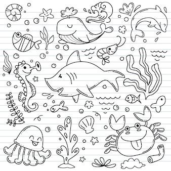 Vida marinha, coleção de esboços para seu projeto