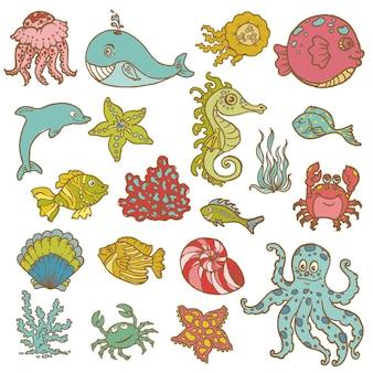 Vida marinha - coleção desenhada à mão