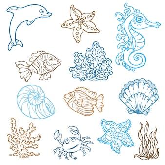 Vida marinha rabiscando coleção desenhada à mão