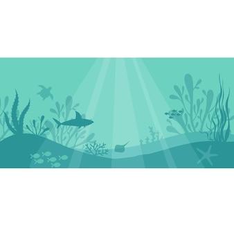 Vida marinha subaquática fundo subaquático com peixes plantas tubarão tartaruga corais estrela do mar