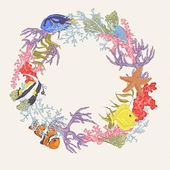 Vida marinha, vindima, redondo, quadro, com, peixe, e, alga