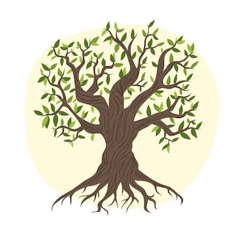 Vida na árvore com folhas de outono desenhadas à mão
