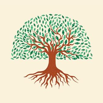 Vida na árvore com folhas verdes desenhadas à mão