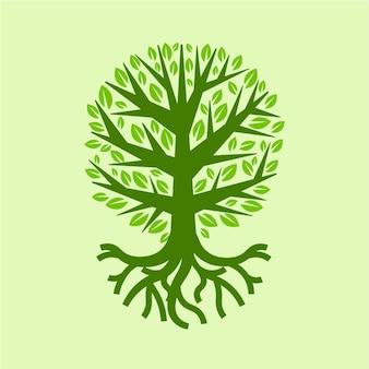 Vida na árvore desenhada à mão no verão