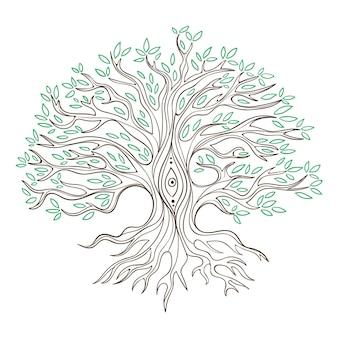 Vida na árvore desenhada à mão