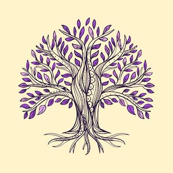 Vida na árvore desenhada