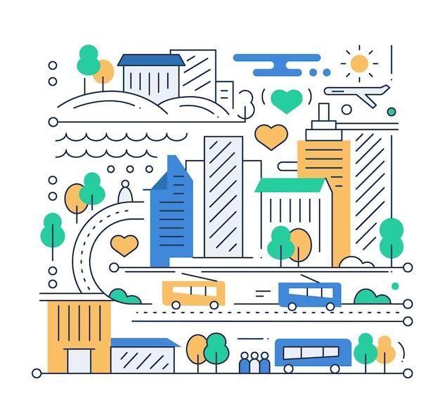 Vida na cidade - composição urbana de design plano de linha moderna com paisagem urbana