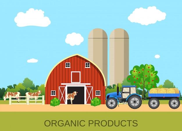 Vida na fazenda colorida com economia natural
