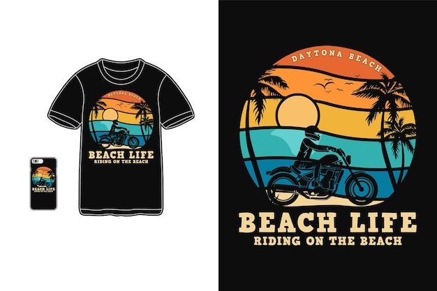 Vida na praia, t shirt design silhueta estilo retro