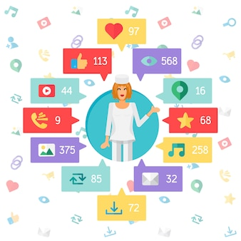 Vida na web de médico ou enfermeiro