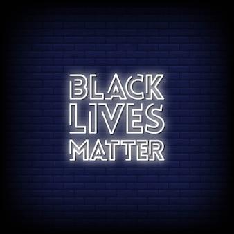 Vida negra matéria sinais néon estilo texto