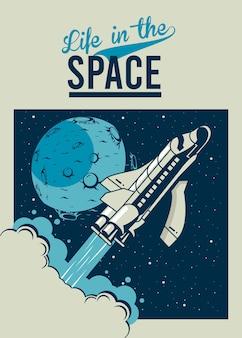 Vida no espaço letras com nave espacial e lua no pôster ilustração estilo vintage