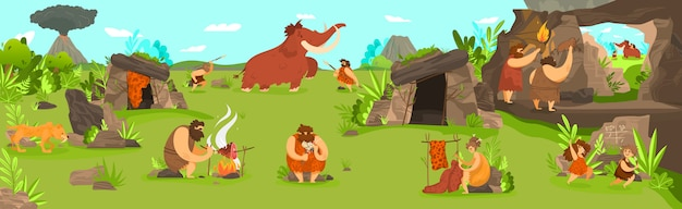 Vida pré-histórica das pessoas no assentamento da tribo primitiva, homens caçando mamute e crianças brincando, ilustração
