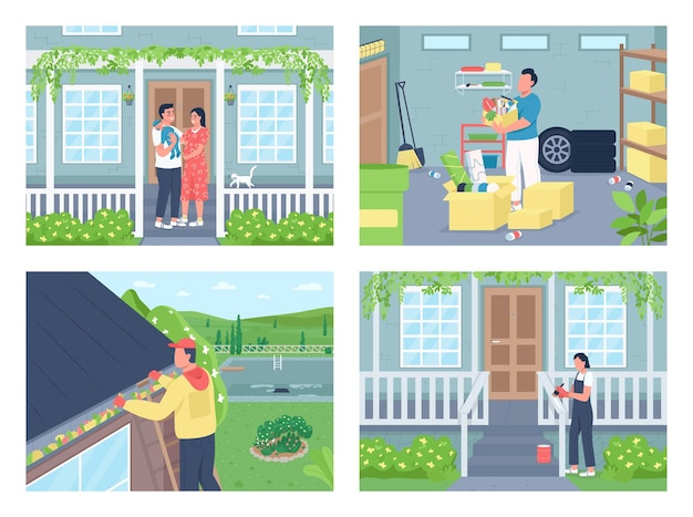 Vida residencial, conjunto de ilustração de cor plana de limpeza de casa na primavera