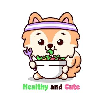 Vida saudável cachorro brown bonito está comendo vegetais ilustração dos desenhos animados de salada