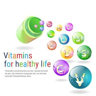 Vida saudável da bandeira colorida dos minerais do nutriente das vitaminas