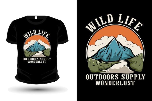 Vida selvagem ao ar livre fornece design de t-shirt desenhado à mão para o desejo de viajar