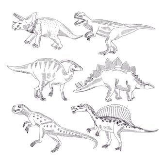 Vida selvagem com dinossauros. conjunto de ilustrações de mão desenhada de t rex e outros tipos de dino