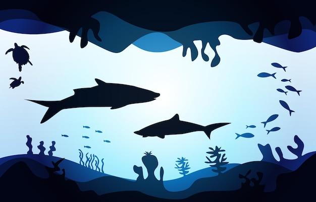 Vida selvagem tubarão peixe mar oceano subaquático aquático ilustração plano