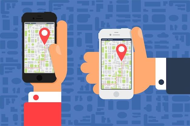 Vida social com smartphone. mapa eletrônico no smartphone na mão em estilo plano minimalista.