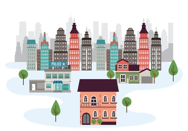 Vida urbana em uma metrópole com ilustração de edifícios arranha-céus