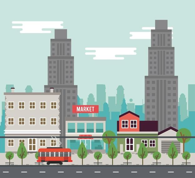 Vida urbana em uma metrópole com ilustração de edifícios e bonde