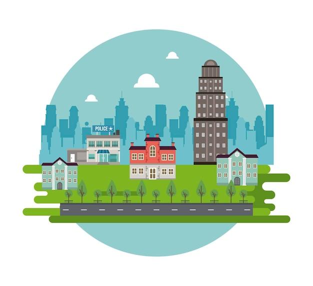 Vida urbana em uma metrópole com ilustração de edifícios e delegacias de polícia