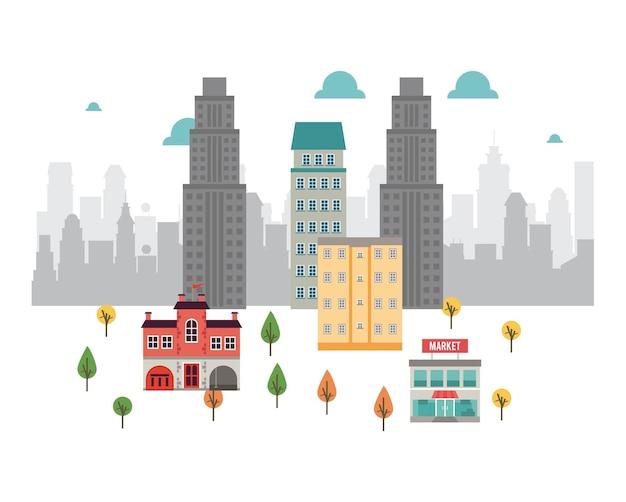 Vida urbana em uma metrópole com ilustração de mercado e arranha-céus