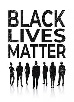 Vidas negras importam banner pessoas silhueta campanha de conscientização contra a discriminação racial da cor da pele escura