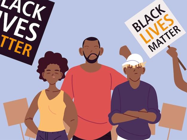 Vidas negras importam com desenhos animados mãe pai filho e banners design de ilustração do tema justiça e racismo