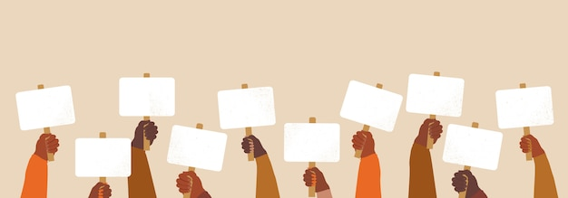 Vidas negras importam conceito. multidão de pessoas protestando por seus direitos. segurando cartazes em mãos negras, nenhuma ilustração de bandeira de racismo. manifestação, revolução, protesto levantou o punho do braço