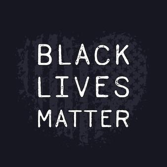Vidas negras importam, coração grunge com bandeira americana
