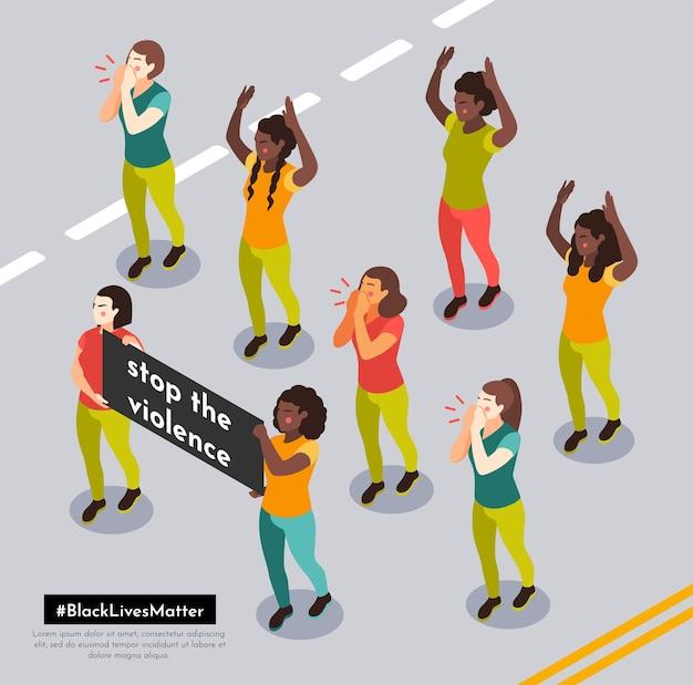 Vidas negras importam em manifestação de rua com manifestantes gritando slogans anti-raciais segurando cartazes